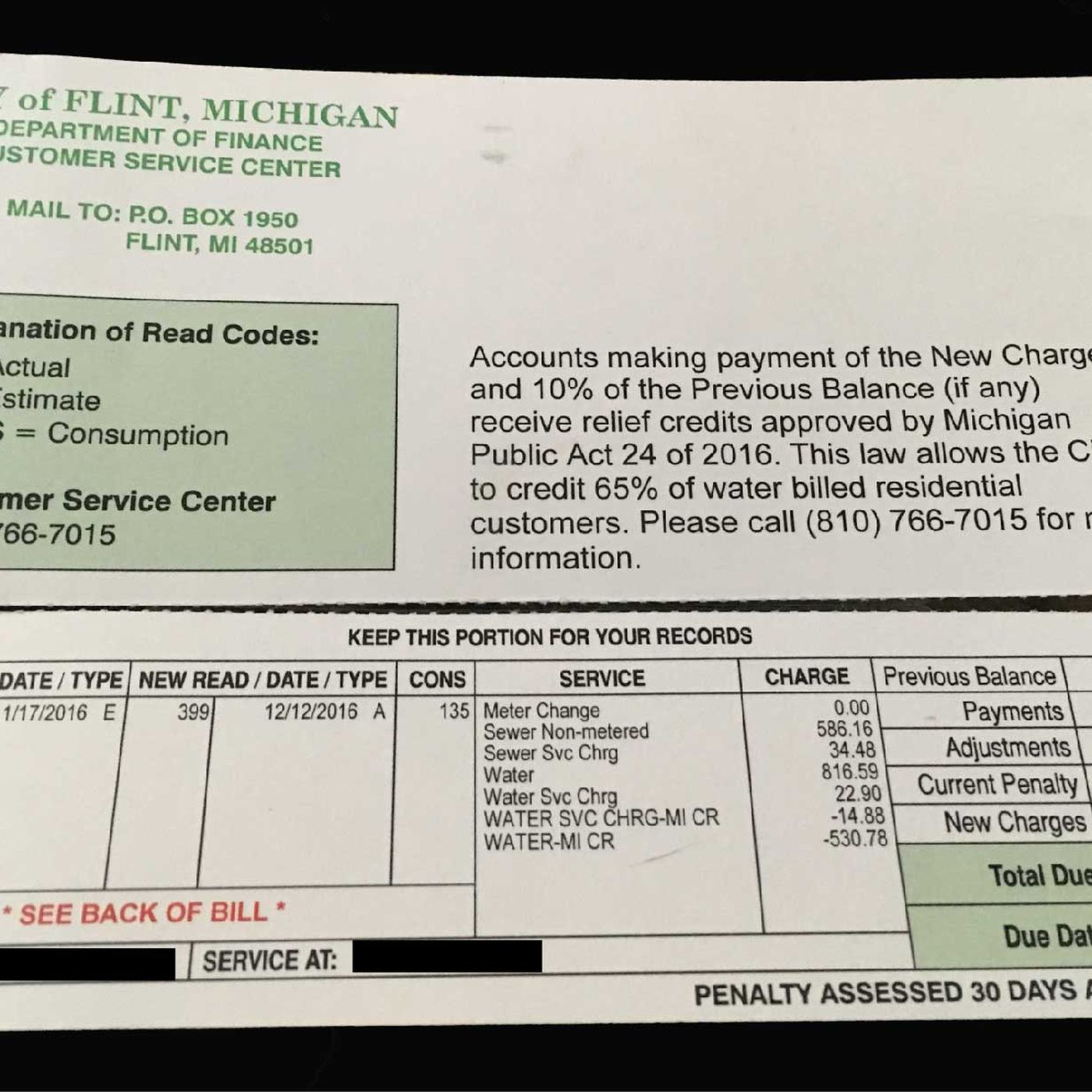 Flint, Michigan, charged a resident $1,090 for lead