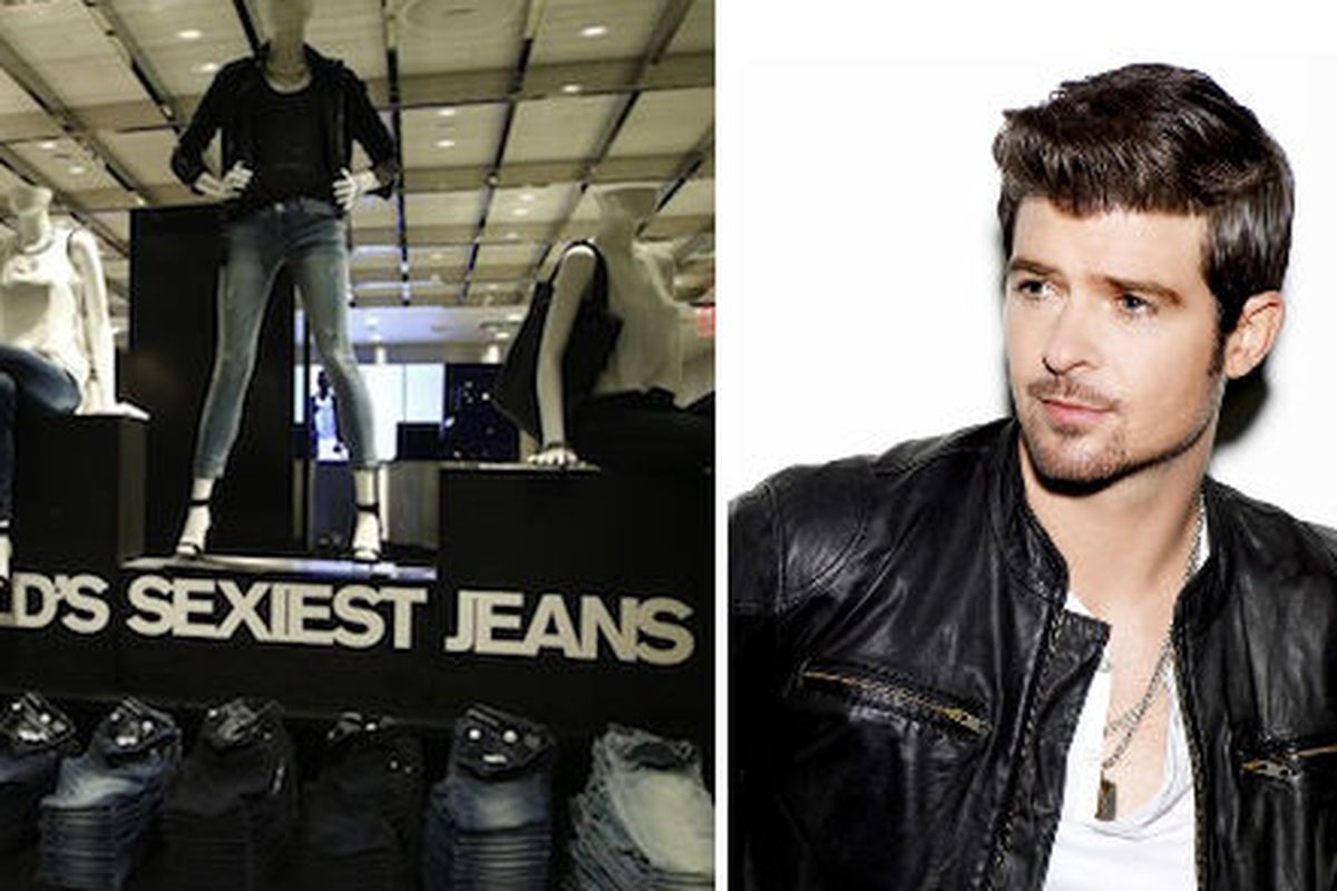 """""""What do they make dreams for/When you got them jeans on?"""" Express photo via <a href=""""http://www.wwd.com/retail-news/specialty-stores/express-goes-big-in-times-square-7507680/slideshow#/slideshow/article/7507680/7507696%22"""">WWD</a>"""