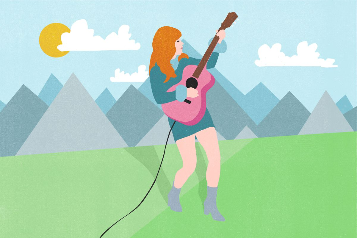 An illustration of Jenny Lewis playing a guitar in front of a mountain range