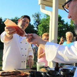 Zea (Host Chef Greg Reggio)<br /><br />      Chefs: Victor Albisu, Jeff Tunks, Robert Wiedmaier<br /><br />      [Dish: Alligator étouffée over roasted corn grits]<br /><br />Sweet chile glaze, peanuts, scallions on the rack