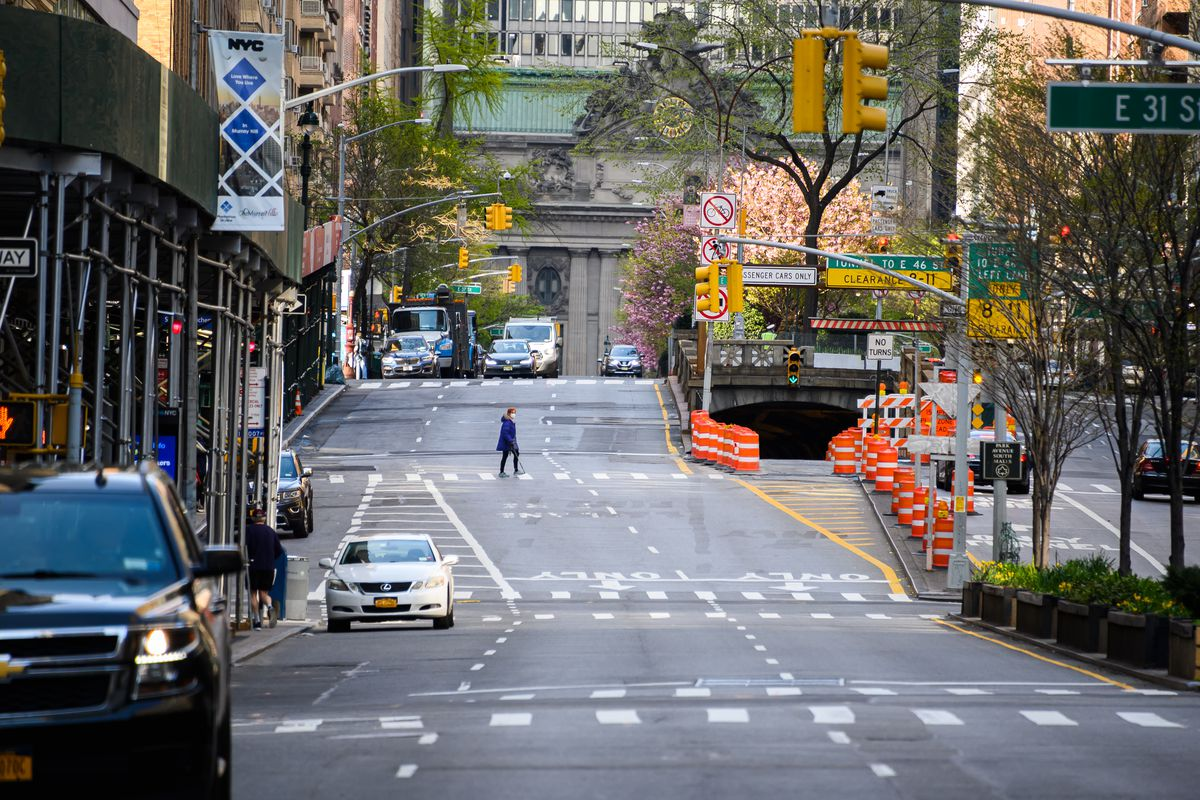 Little traffic moves down Park Avenue and Grand Central Terminal during the coronavirus pandemic