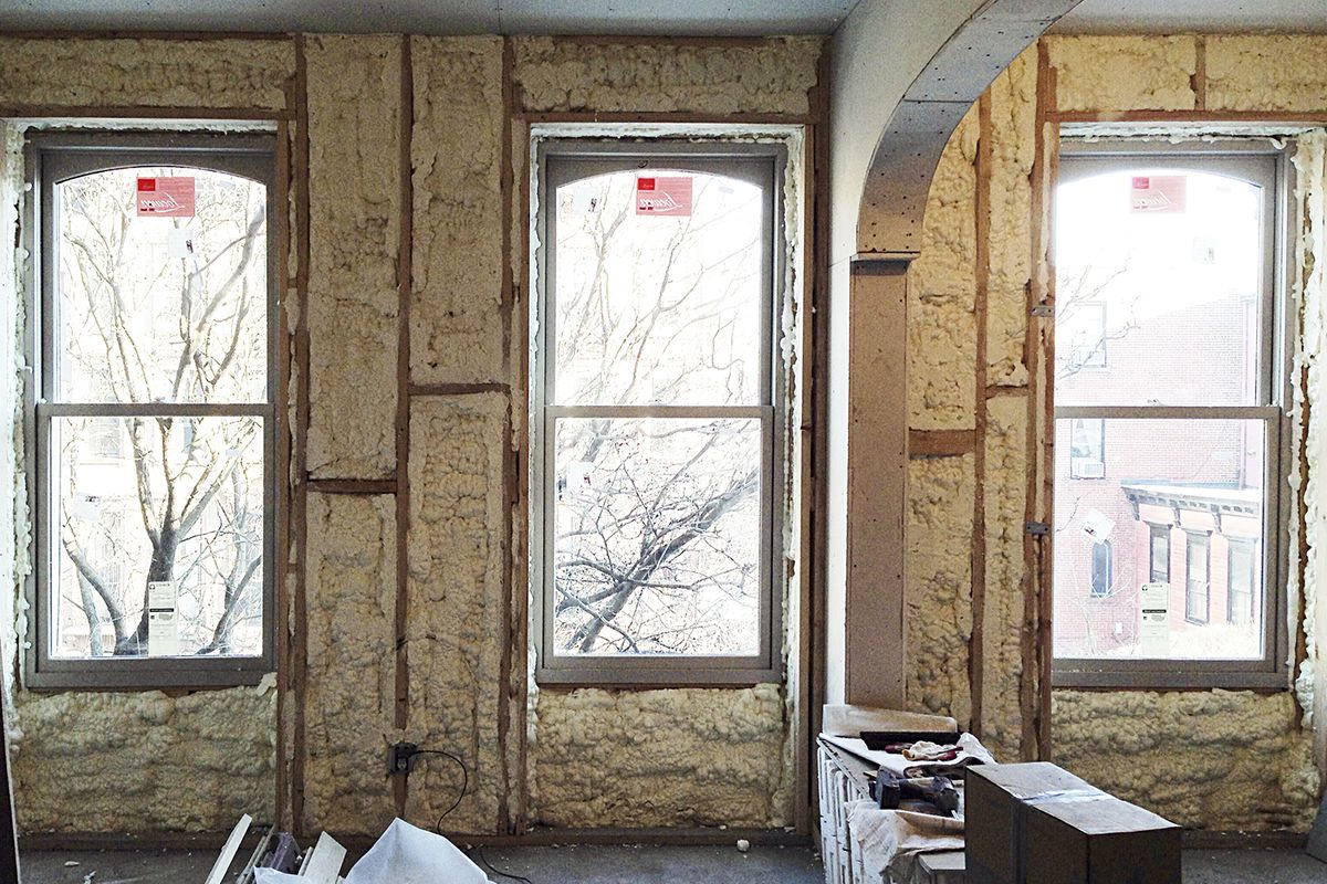 New Loewen windows being installed during the systems phase of Brent Allen Buck's brownstone renovation. Photo courtesy of Buck Projects.