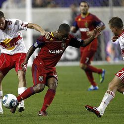HARRISON, NJ - SEPTEMBER 21:  Jan Gunnar Solli #8 of the New York Red Bulls fights for the ball with Collen Warner #26 of the Real Salt Lake during their game at Red Bull Arena on September 21, 2011 in Harrison, New Jersey.  (Photo by Jeff Zelevansky/Getty Images)