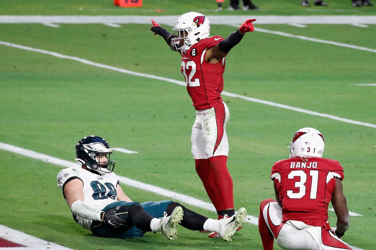 Budda Baker #32 of the Arizona Cardinals celebrates a Philadelphia Eagles failed play on fourth down with less than two minutes remaining in the fourth quarter at State Farm Stadium on December 20, 2020 in Glendale, Arizona.