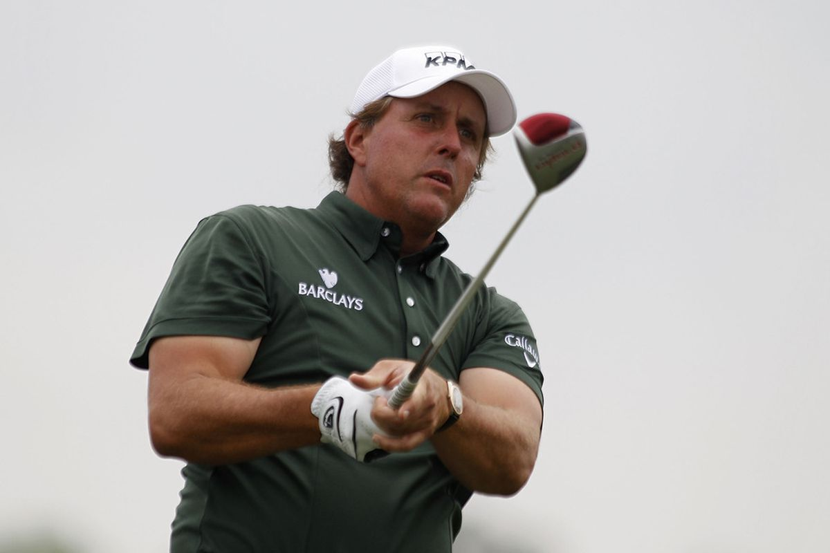 HUMBLE, TX - APRIL 02: Phil Mickelson hits his drive on the third hole during the third round of the Shell Houston Open at Redstone Golf Club on April 2, 2011 in Humble, Texas.  (Photo by Michael Cohen/Getty Images)