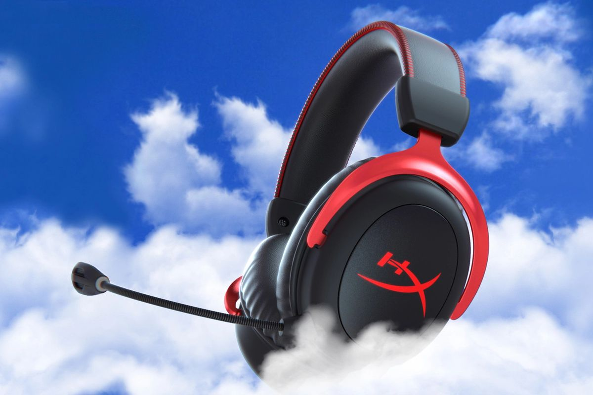 An enormous gaming headset floats among stratocumulus clouds somewhere high above Earth