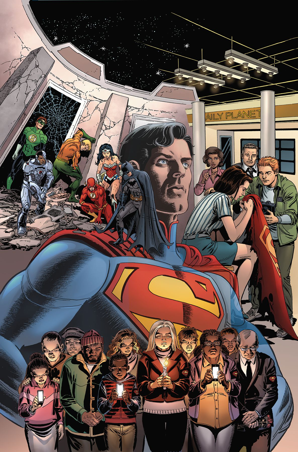 Superman and other characters on the cover of The Death of Superman: The Wake, DC Comics (2019).