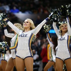 Jazz dancers perform as the Utah Jazz and the Denver Nuggets play an NBA basketball game at Vivint Arena in Salt Lake City on Wednesday, Feb. 5, 2020.