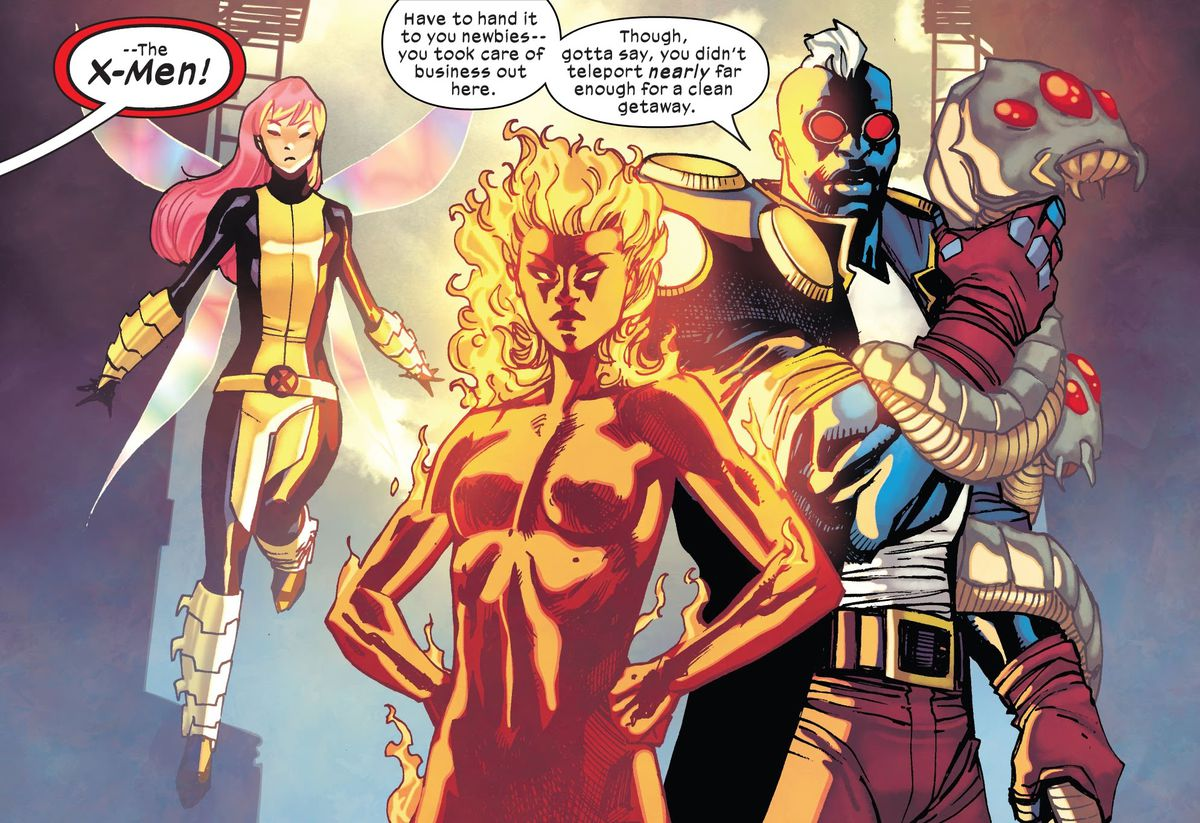 """""""The X-Men!"""" cry the Children of the Atom, excited to see the relatively obscure mutants Pixie, Magma, and Maggot in Children of the Atom #1, Marvel Comics (2021)."""