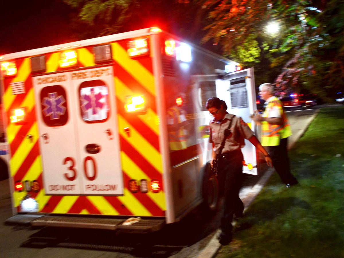 Emergency crews respond to a shooting about 11 p.m. Thursday, July 12, 2018 in the 8200 block of South Wentworth Ave in Chicago. | Justin Jackson/ Sun-Times