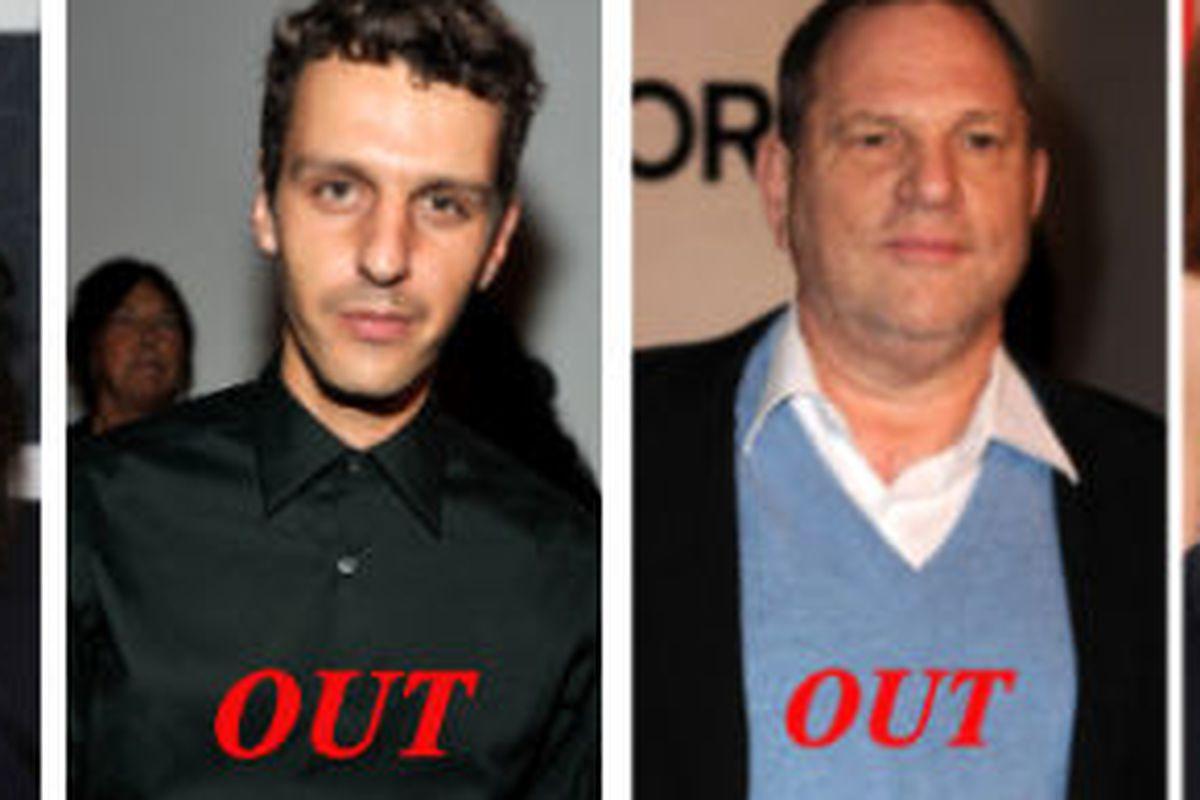 "Tamara Mellon, Marios Schwab, Harvey Weinstein, and Sarah Jessica Parker via <a href=""http://gettyimages.com"">Getty Images</a>"