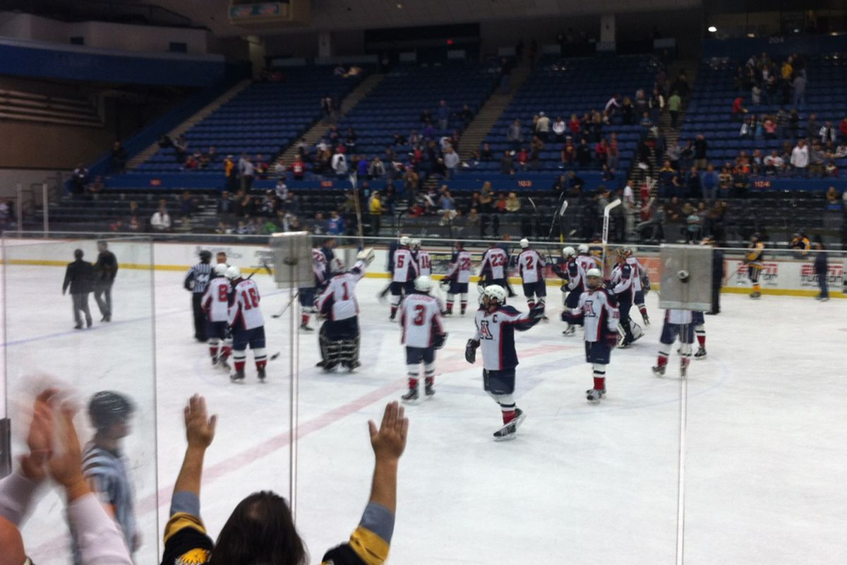 Wildcats Saluting the crowd after beating NAU IceJacks