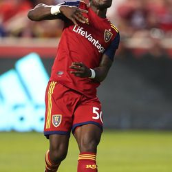Real Salt Lake forward Sam Johnson (50) spins around after scoring a goal as RSL and the Sounders play at Rio Tinto Stadium in Sandy, Utah, on Wednesday, Aug. 14, 2019.