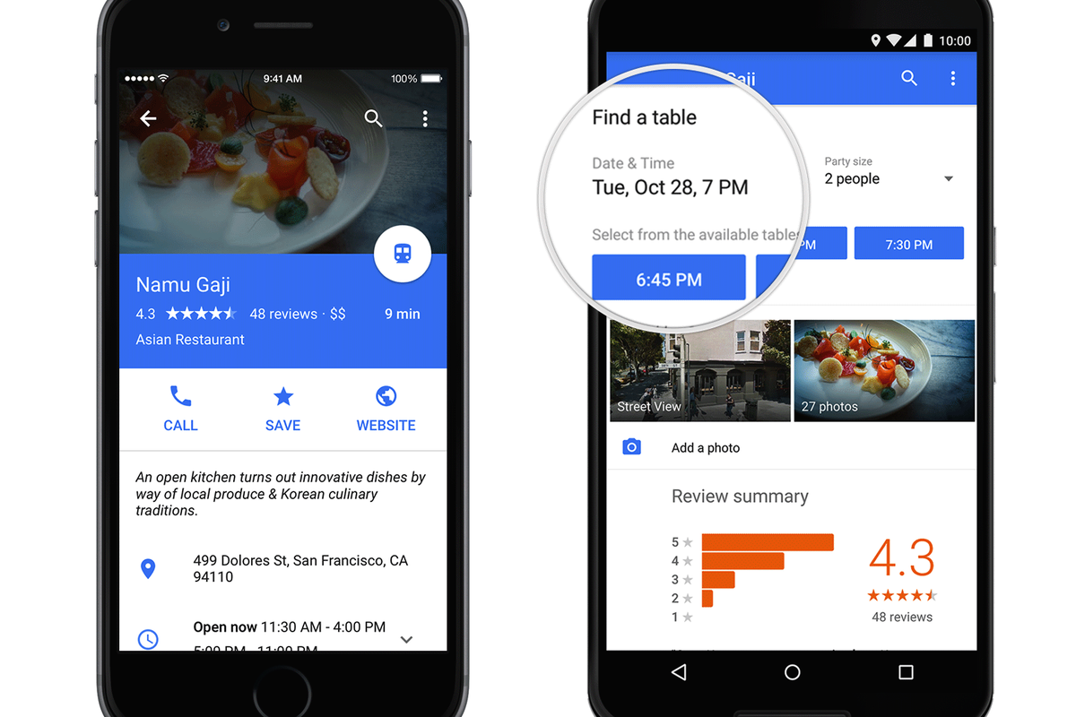 Google Maps Partners With OpenTable To Offer Restaurant Reservations - Google open table