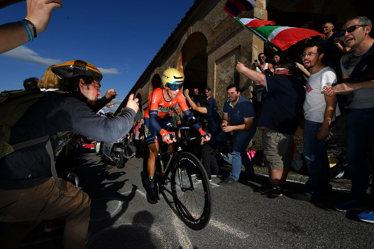 BOLOGNA, ITALY - MAY 11: Vincenzo Nibali of Italy and Team Bahrain - Merida / Public / Fans / during the 102nd Giro d'Italia 2019, Stage 1 a 8km Individual Time Trial from Bologna to San Luca-Bologna 274m / ITT / Tour of Italy / #Giro / @giroditalia / on