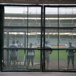 Mon 4:42 p.m. Guests hitting in the right field corner, at a private event -