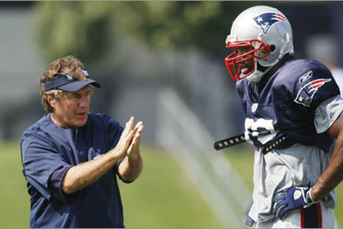 <em>Bill Belichick explaining to Shawn Crable how he will crush him if Crable gets injured again and doesn't play</em>.