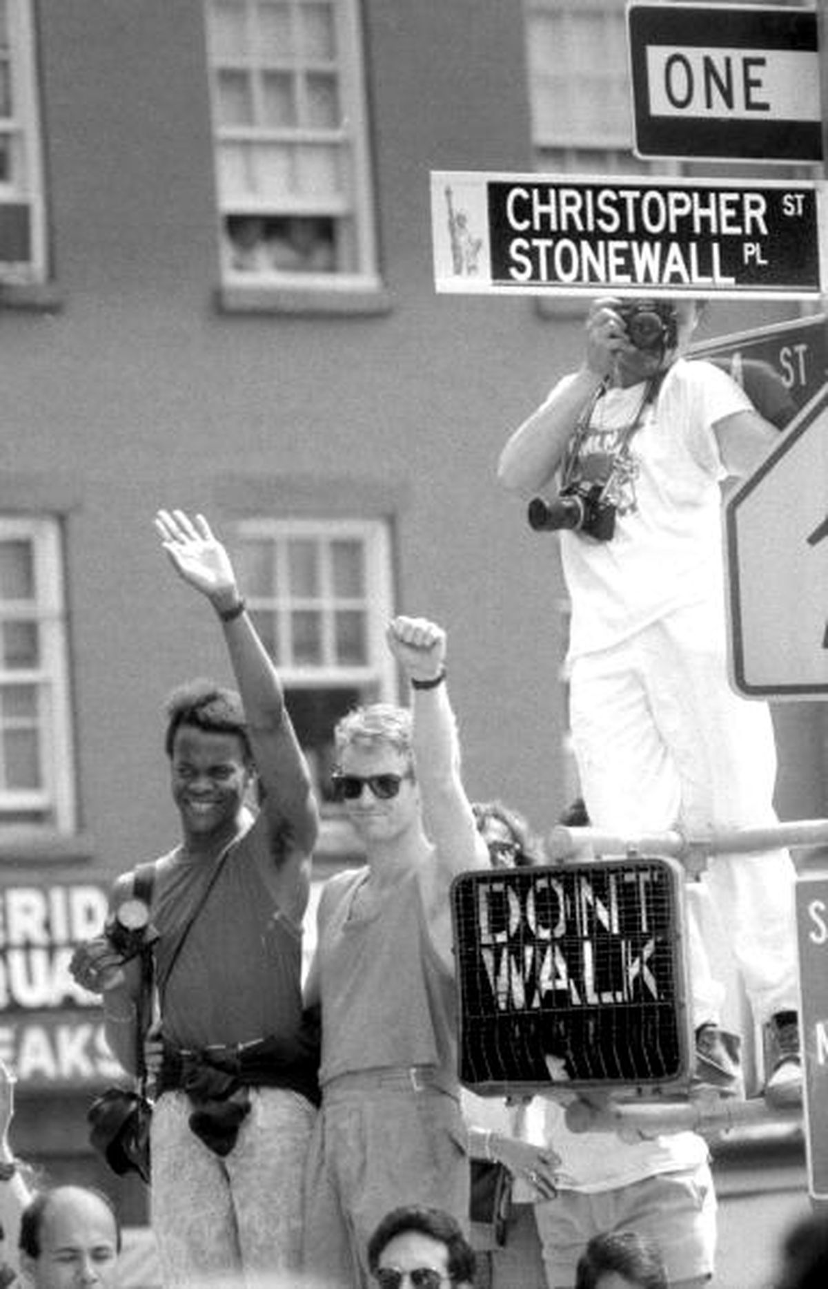 LGBTQ advocates show their support on the anniversary of the Stonewall Riots.