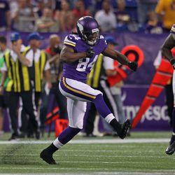 Aug 9, 2013; Minneapolis, MN, USA; Minnesota Vikings wide receiver Cordarrelle Patterson (84) celebrates a kick return during the first quarter against the Houston Texans at the Metrodome.