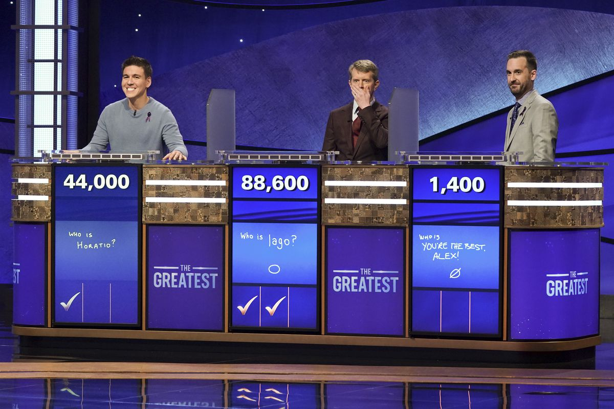 ken jennings gasps between james and brad during the jeopardy! greatest of all time tournament
