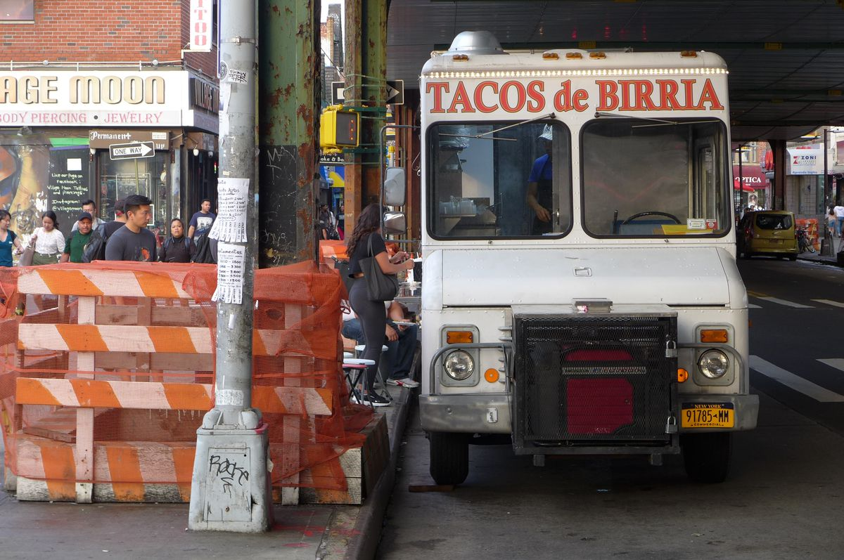 A taco truck seen from the front