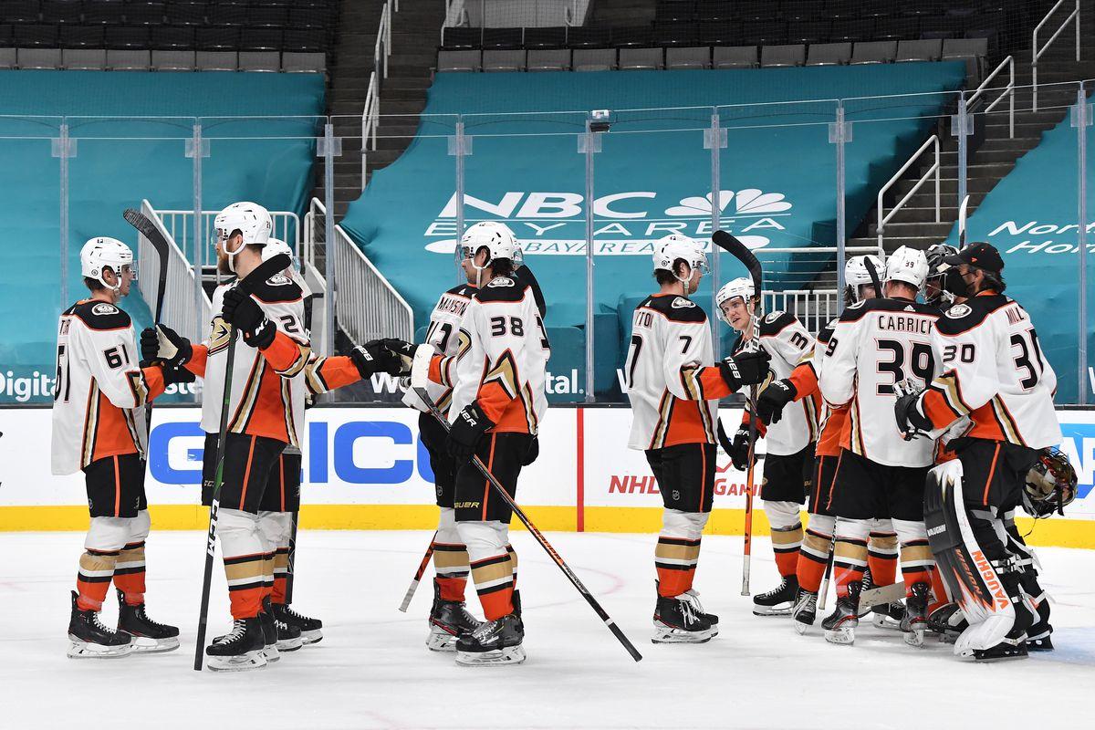 The Anaheim Ducks celebrate after defeating the San Jose Sharks 5-1 at SAP Center on April 6, 2021 in San Jose, California.