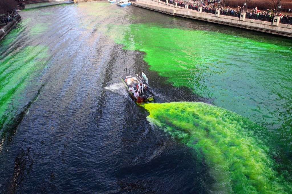 Workers dye the Chicago River green for St. Patrick's Day on March 14, 2015. | Tim Boyle / Sun-Times
