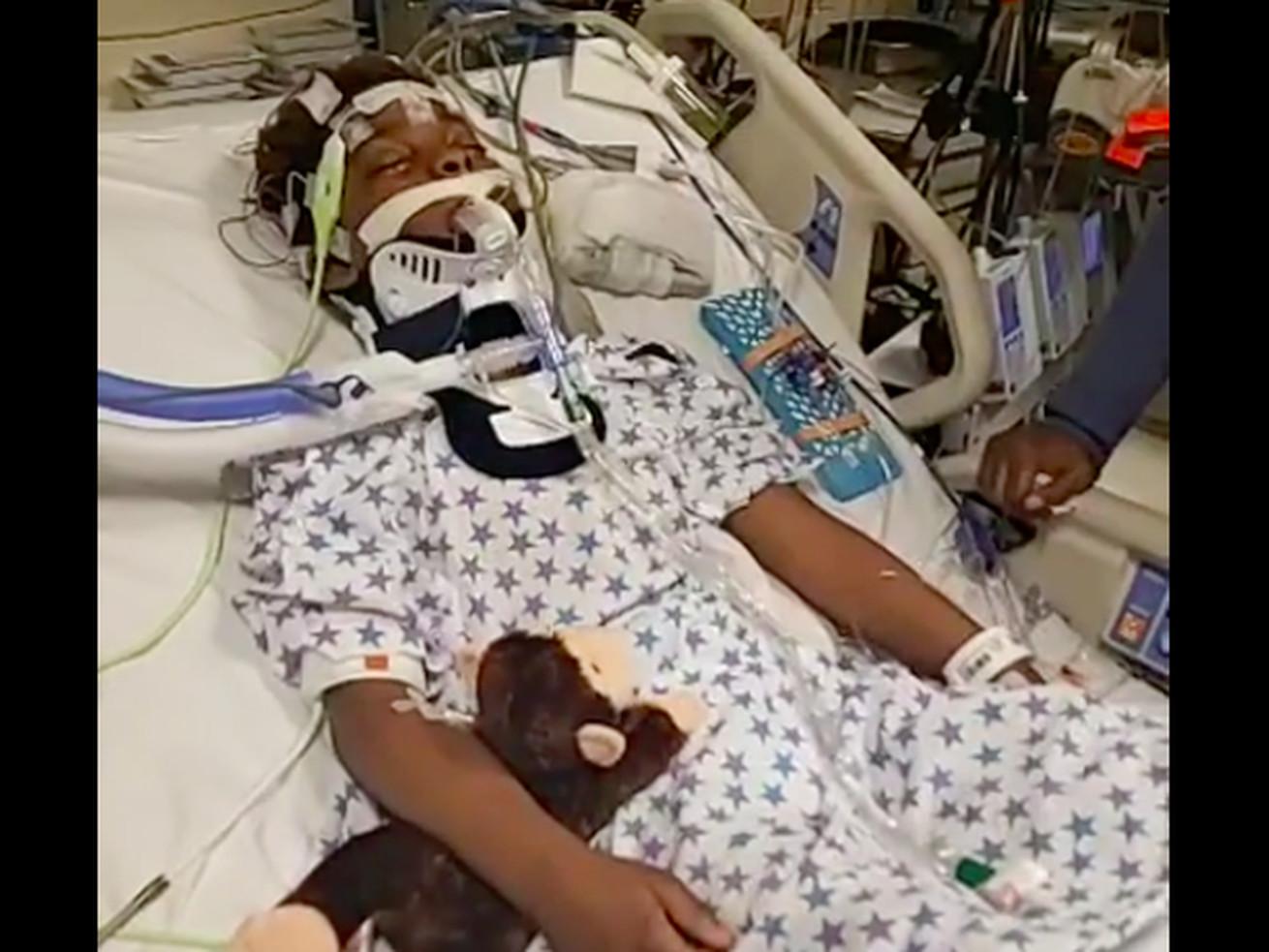 Jamari Dent shown hospitalized at Comer Children's Hospital in 2019.