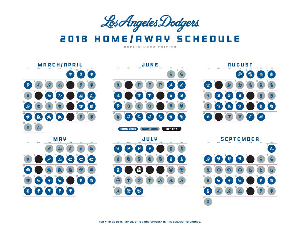 mlb schedule 2018 dodgers open and close next season vs giants