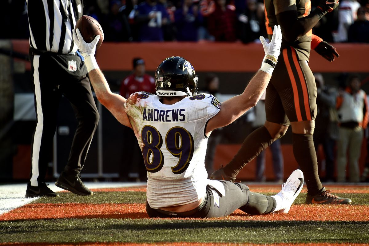 Mark Andrews of the Baltimore Ravens celebrates after scoring a touchdown against the Cleveland Browns during the second quarter in the game at FirstEnergy Stadium on December 22, 2019 in Cleveland, Ohio.
