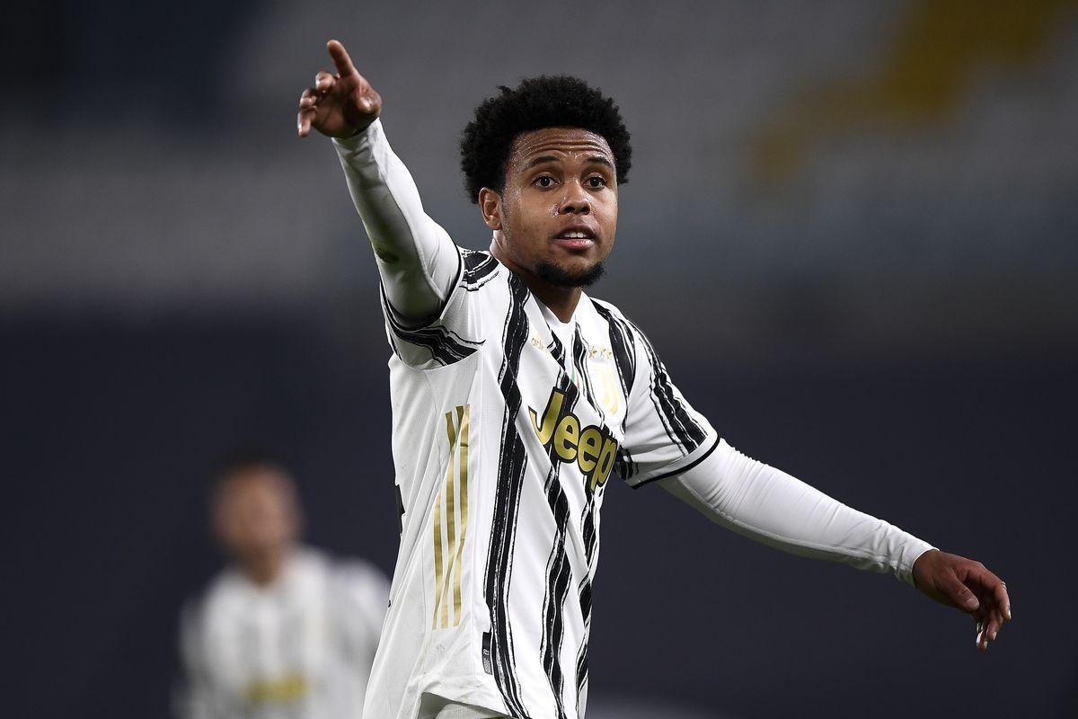 Weston McKennie of Juventus FC gestures during the Serie A...
