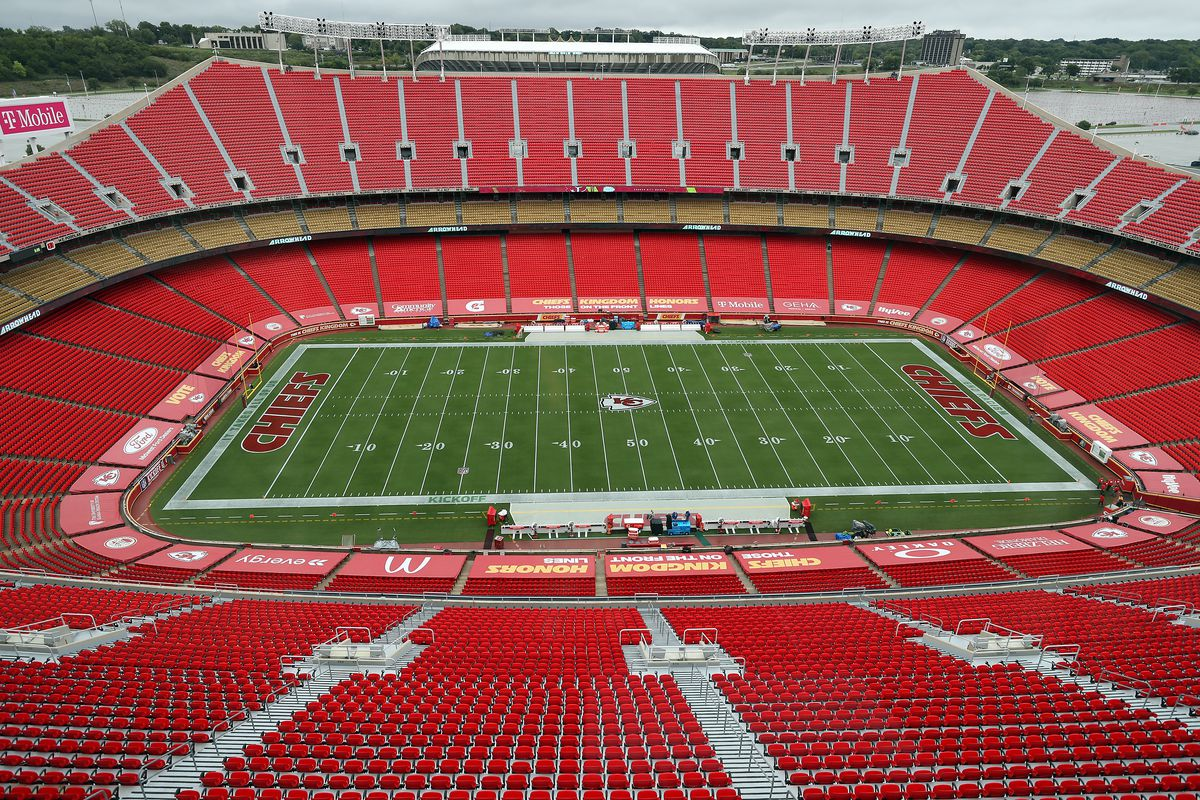 A general view of the empty stadium prior to the game between the Houston Texans and the Kansas City Chiefs at Arrowhead Stadium on September 10, 2020 in Kansas City, Missouri.