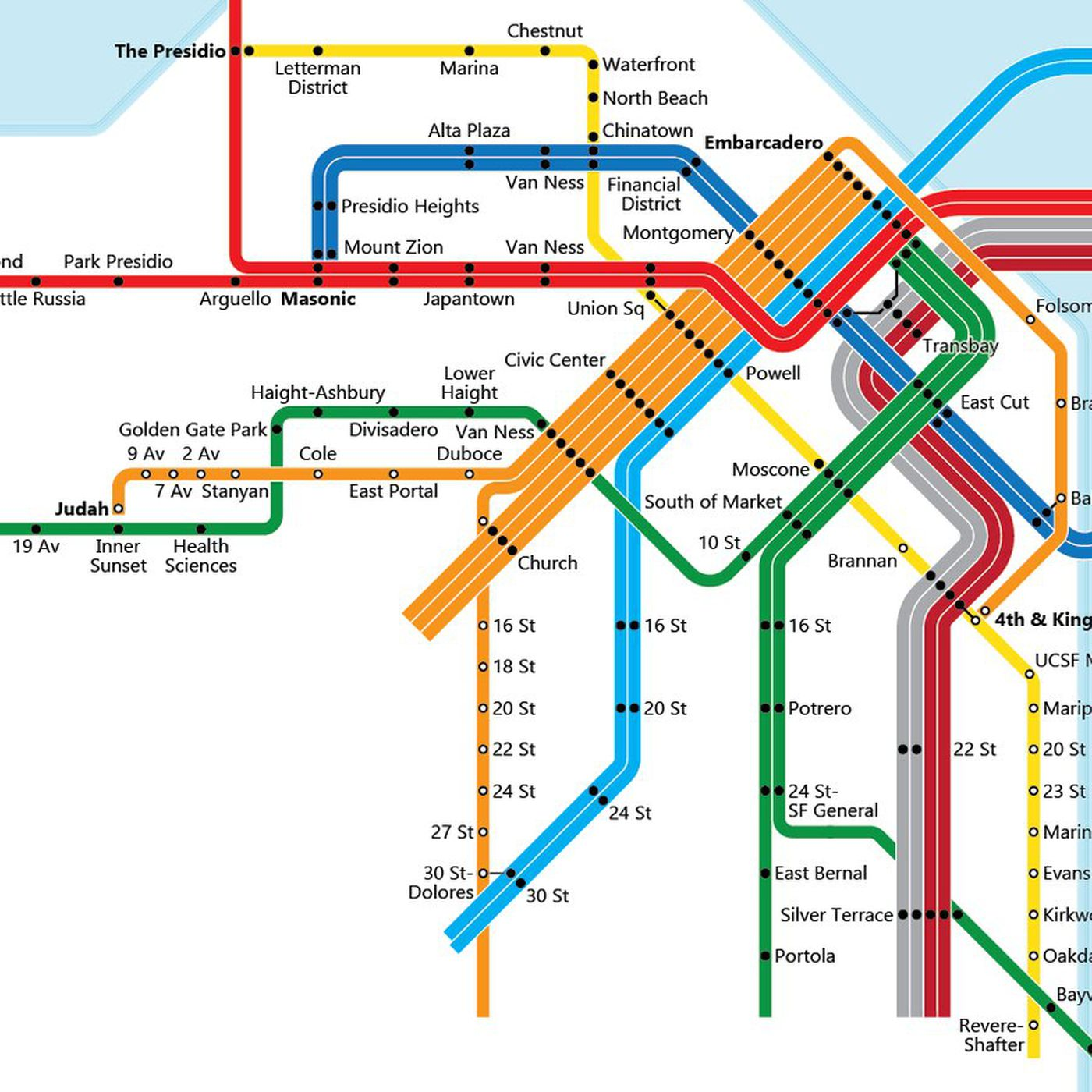 Muni Subway Map.Bart Map Which Fantasy Version Is The Best Curbed Sf