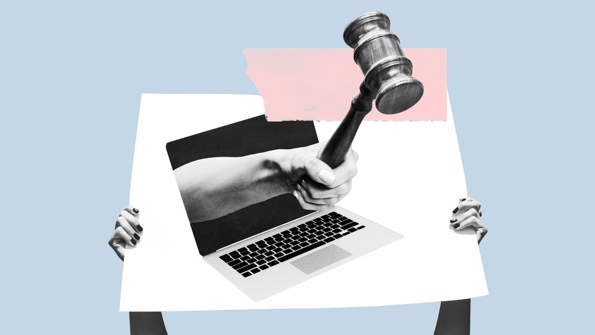 An illustration of a laptop computer with a hand and a courtroom gavel coming out of its screen.