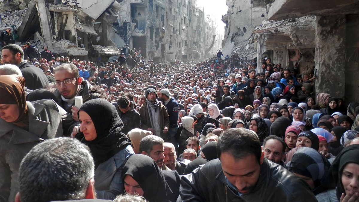 The Yarmouk refugee camp in Damascus.