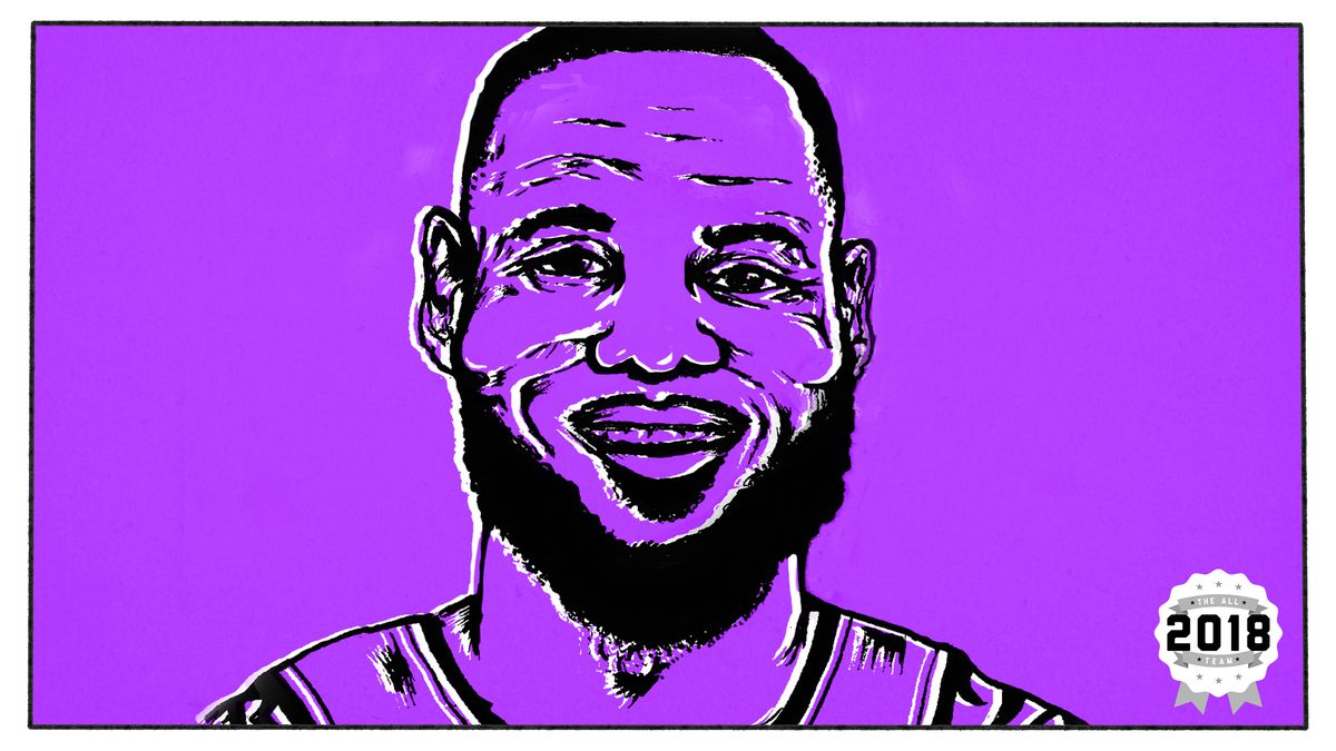 Illustration of LeBron's face against a purple background