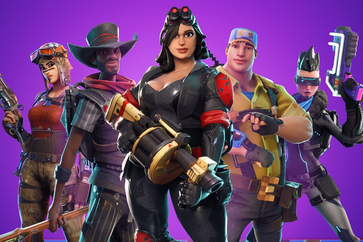 A group of Fortnite avatars wielding a rotary grenade launcher and various melee weapons.