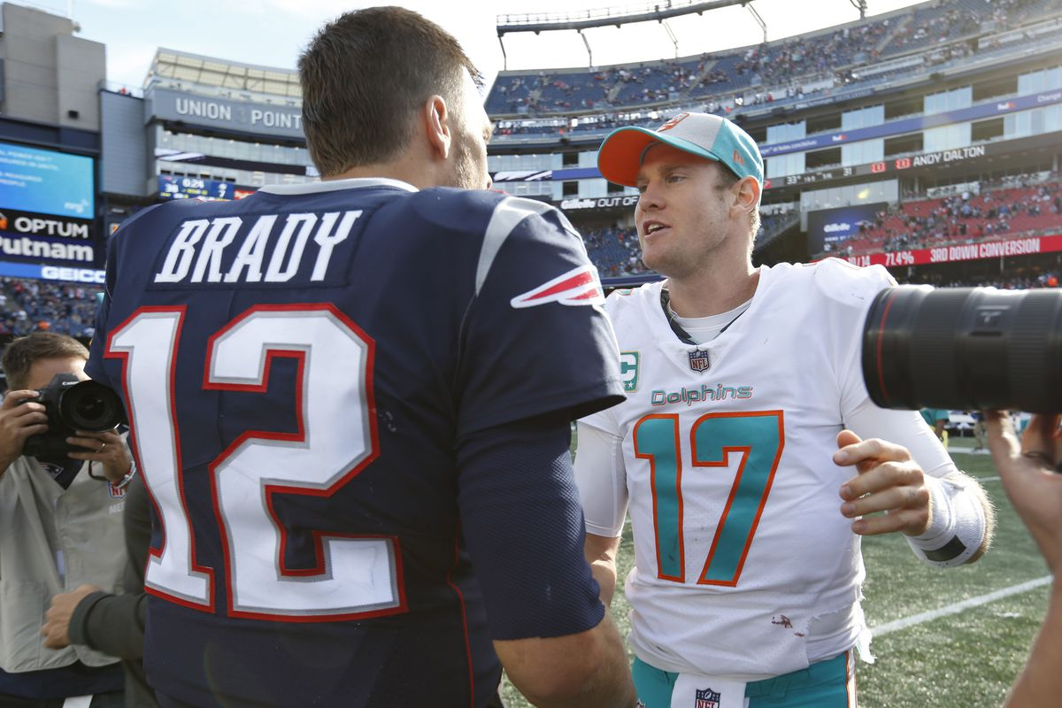 New England Patriots quarterback Tom Brady greets Miami Dolphins quarterback Ryan Tannehill at the end of the game at Gillette Stadium.