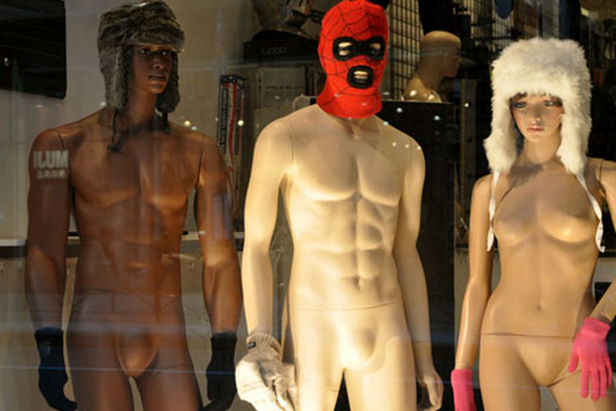 """Naked hat-wearing mannequins via <a href=""""http://www.flickr.com/photos/essgee/4320655714/in/pool-rackedny"""">EssG</a>/Racked Flickr Pool"""