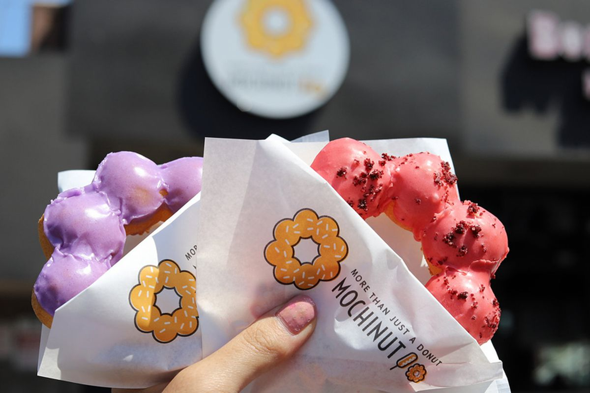Two crunchy and chewy Mochinut donuts held outside a California store and coming soon to Las Vegas.