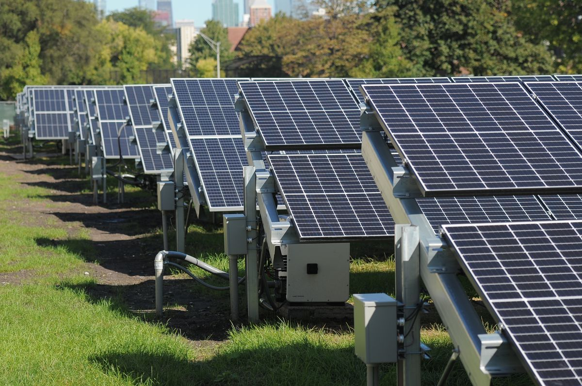 """Solar panels near the Dearborn Homes development in Bronzeville are part of ComEd's """"Community of the Future"""" initiative testing microgrid service."""