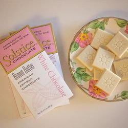 Solstice Chocolate's Brown Butter White Chocolate bar won a gold award in the International Chocolate Awards, Americas Competition 2017. Solstice opened in 2012 in Murray.