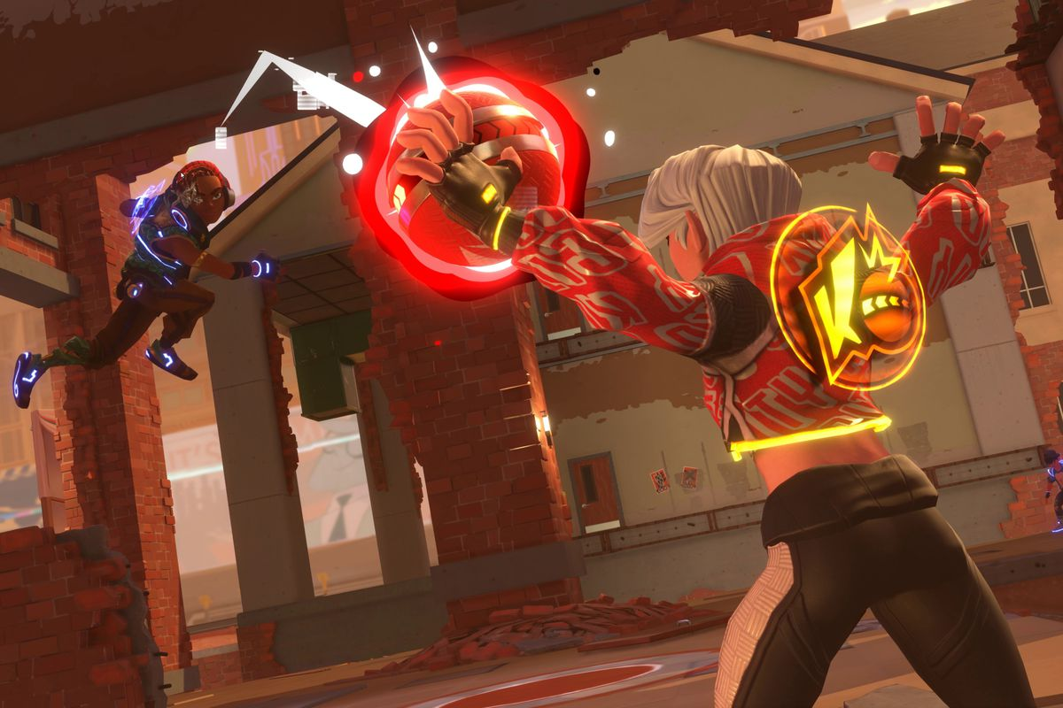 """A very colorful """"Dodgebrawl"""" contestant tries to deflect a charged up shot in Knockout City"""