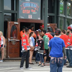 1:14 p.m. Line outside of the Cubby Bear -