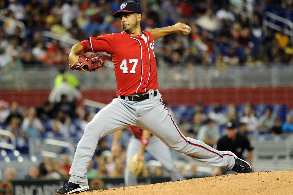 July 14, 2012; Miami, FL, USA; Washington Nationals starting pitcher Gio Gonzalez (47) throws during the first inning against the Miami Marlins at Marlins Park. Mandatory Credit: Steve Mitchell-US PRESSWIRE