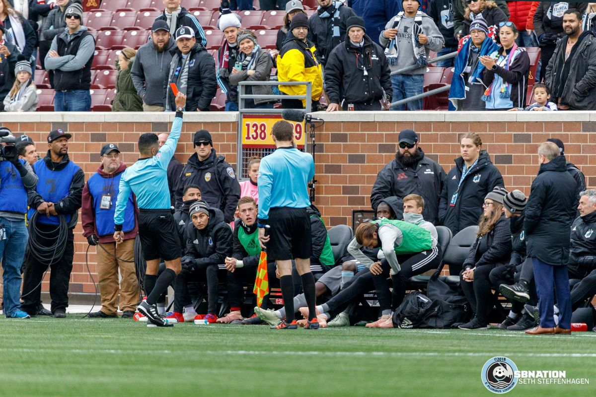 October 13, 2018 - Minneapolis, Minnesota, United States - Minnesota United midfielder Harrison Heath (16) is ejected after receiving a red card on the bench during the match against the Colorado Rapids match at TCF Bank Stadium.