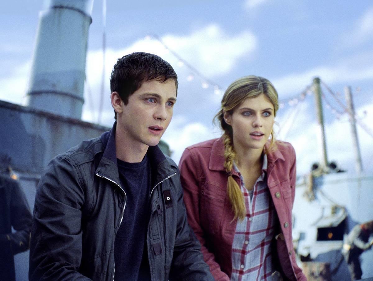 "Percy Jackson (Logan Lerman) and Annabeth (Alexandra Daddario) in ""Percy Jackson: Sea of Monsters."""