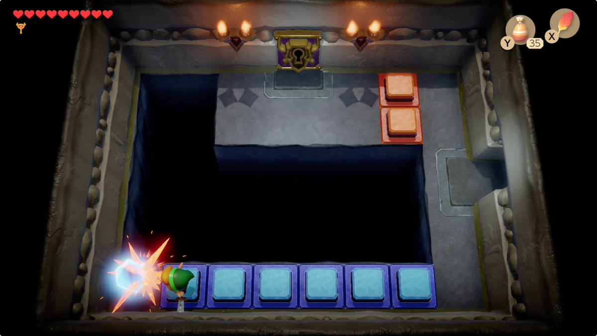 Link's Awakening Color Dungeon use the crystal to open a path to the Nightmare door