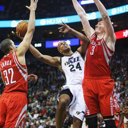 Utah Jazz's small forward Richard Jefferson (24) is fouled by Houston's Francisco Garcia as the Jazz and the Rockets play Saturday, Nov. 2, 2013 in EnergySolutions arena. Jazz lost 104-93.
