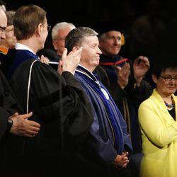 President Cecil Samuelson is honored for his service during BYU Spring 2014 Commencement exercises in Provo Thursday, April 24, 2014.